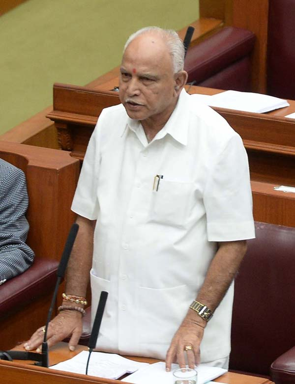 Belagavi: Karnataka BJP chief B.S. Yeddyurappa addresses during the first day of winter session of the state assembly in Belagavi of Karnataka's Belgaum district on Dec 10, 2018. (Photo: IANS)