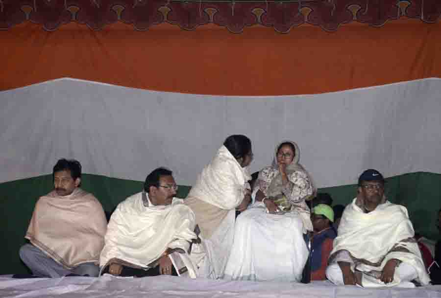 Kolkata: West Bengal Chief Minister Mamata Banerjee during a sit-in (dharna) protest against CBI raid to Kolkata Police Commissioner house at Metro Channel in Kolkata last night on Feb. 04, 2019.