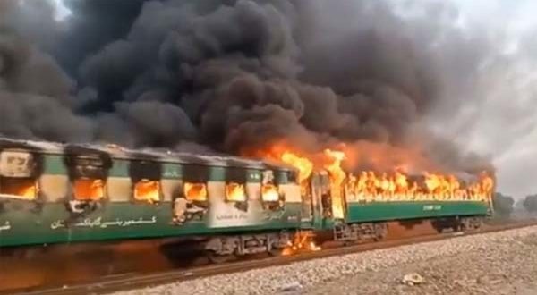 Sixty-two people were killed and several others injured when fire engulfed three bogies of Tezgam Express due to gas cylinder explosion in a bogie at Liaquatpur near Rahim Yar Khan on Thursday morning.