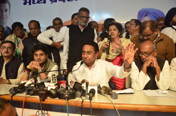 Bhopal: Congress leaders Digvijay Singh, Kamal Nath and Jyotiraditya Scindia during a press conference in Bhopal on Dec 12, 2018. The party is all set to form the government in Madhya Pradesh with the support of three MLAs of the Bahujan Samaj Party (BSP